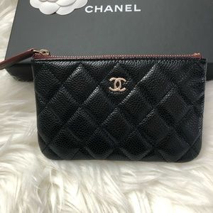 Chanel mini o case small pouch quilted caviar